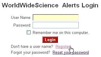 WorldWideScience Alerts Login